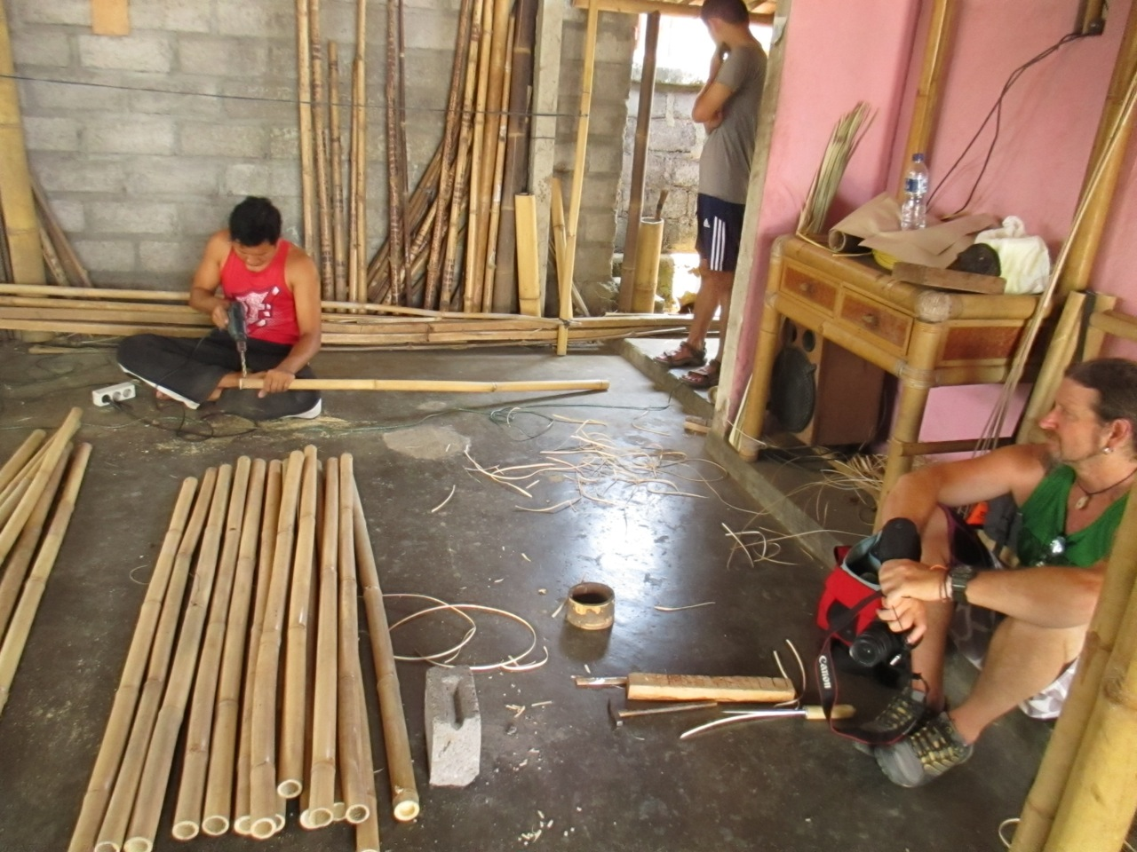 Cutting bamboo to size