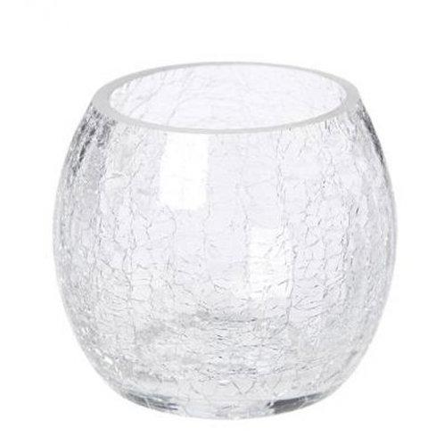 Photophore en verre Craquelé-Rond 7 cm