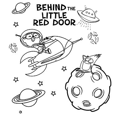 Behind the Little Red Door Outer Space Coloring Page