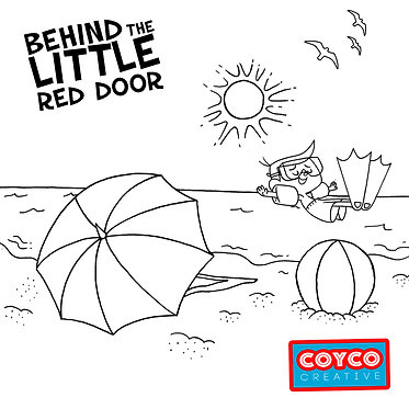Behind the Little Red Door Fun in the Sun Coloring Page