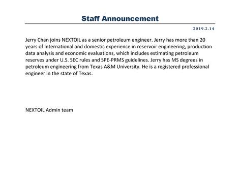 Jerry Chan, PE joins NEXTOIL
