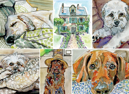 New Custom Watercolor Paintings by Carrie of Violet Cottage