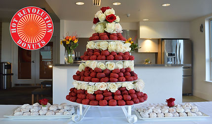 Hot Revolution Donuts Velvet Wedding Cake; catering in Seattle, King County and WA State