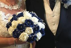 white & Blue roses