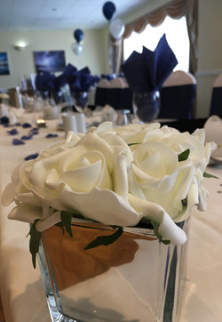 white rose blue wedding