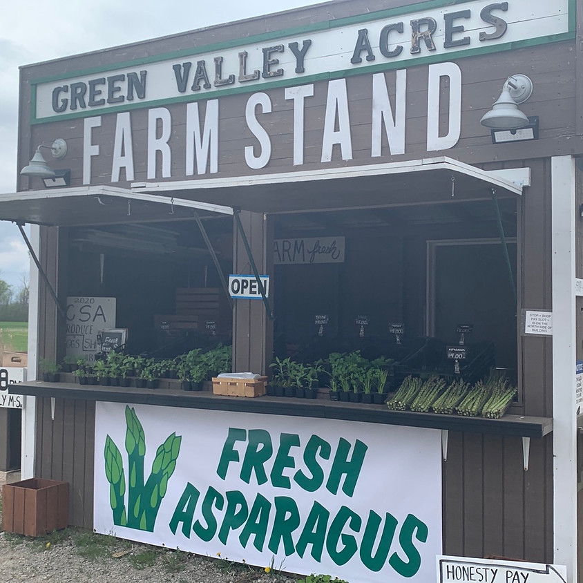 FARM STAND OPEN WITH ASPARAGUS & HERB PLANTS