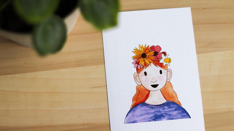 Poster bloemenmeisje