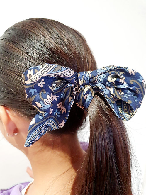 Ponytail Bows- navy paisley