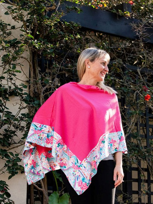Boarded Poncho Classic - Pink Aztec