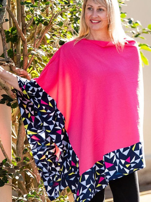 Boarded Poncho Long - Pink Triangles