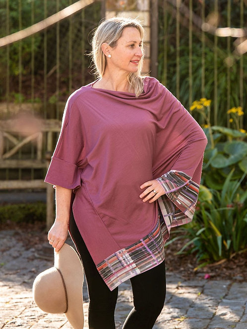 Boarded Poncho Long - Roseberry Merino