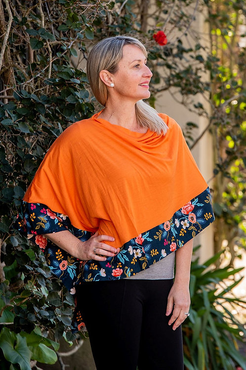 Boarded Poncho Classic - Tangerine