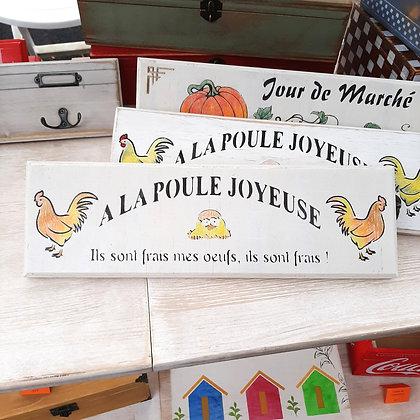 Plaque décorative Poule Joyeuse