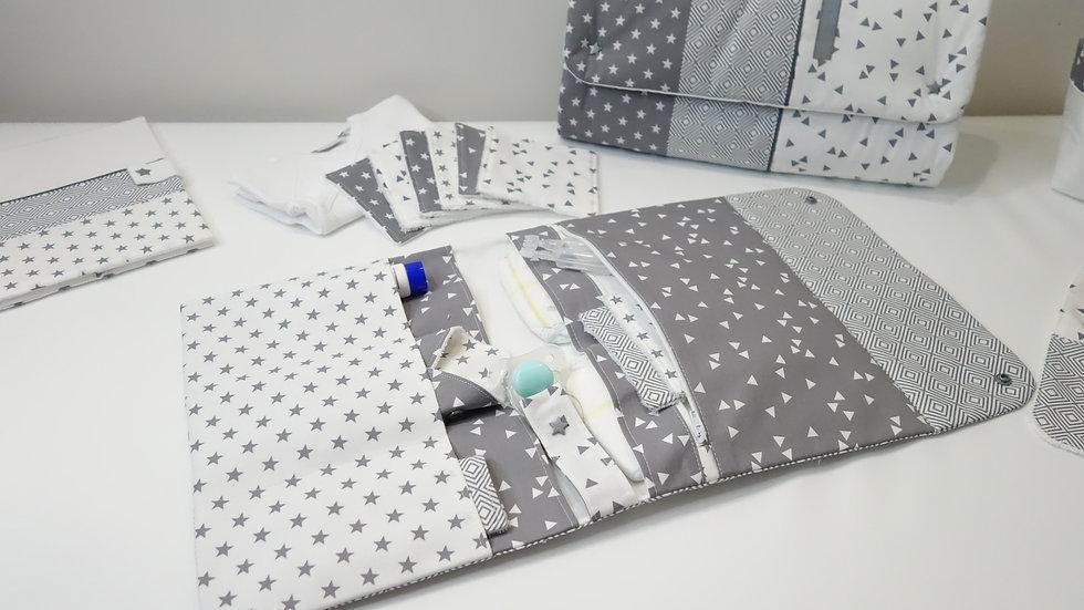 Pochette à langer Nomade Graphique blanc et gris