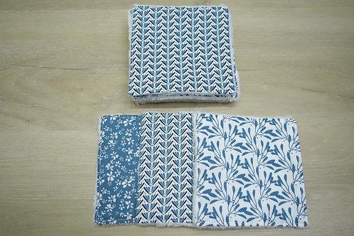 Lot de 8 lingettes lavables Bambou Lisbonne bleu