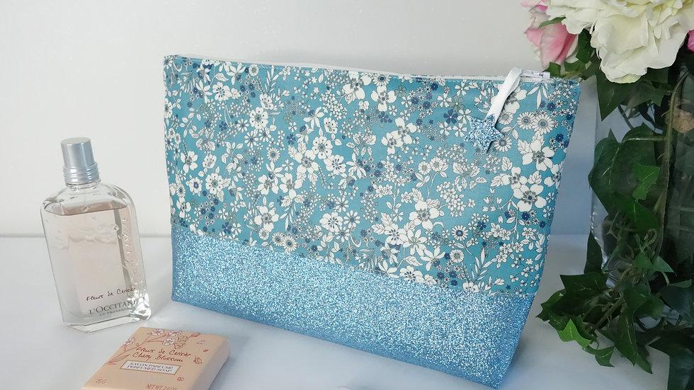 Trousse de toilette Fleurs turquoise