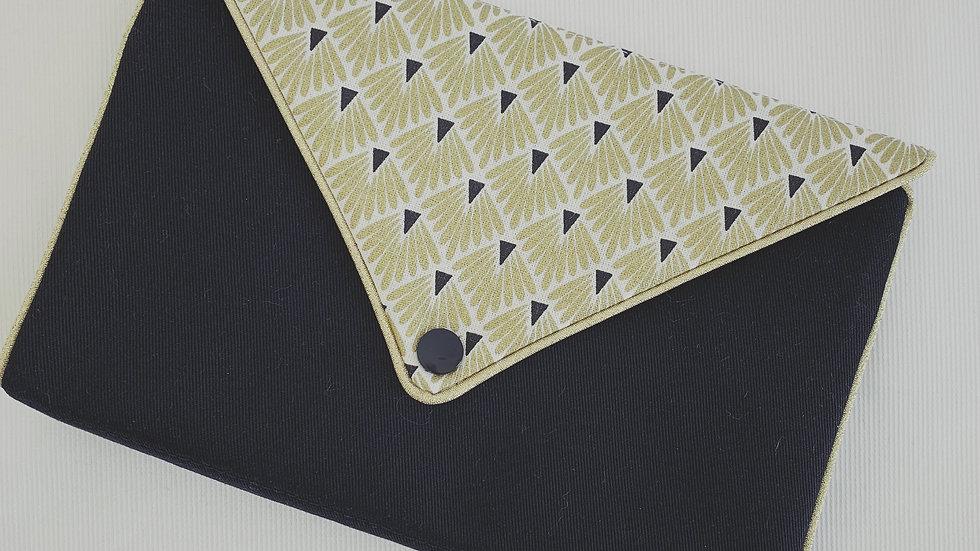 Pochettes à bijoux grands éventails dorés et noirs