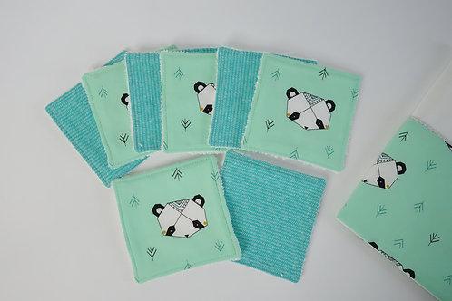 Lot de 8 lingettes lavables - Pandas