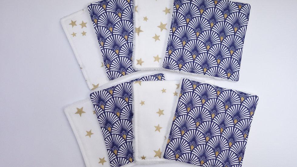 Lot de 8 lingettes lavables Bambou Eventails bleus