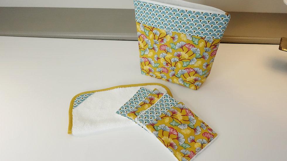 Pack voyage pochette/serviette/lingettes velours de bambou Ginkgo