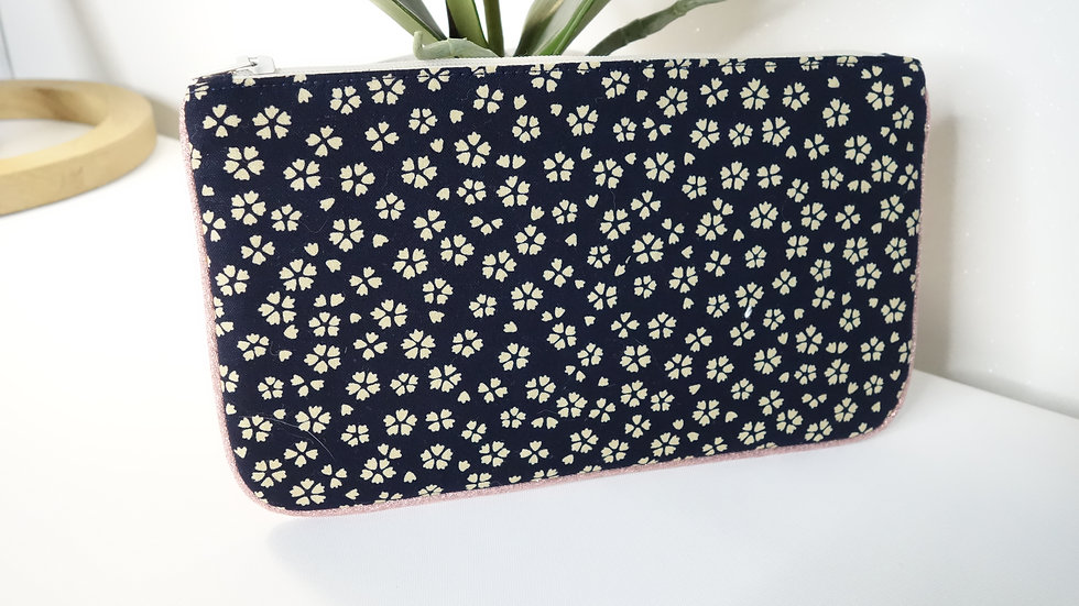Pochette plate Bi-colore Marine sakura-Rose