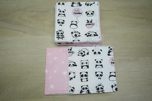 Lot de 8 lingettes lavables Bambou Hello Panda