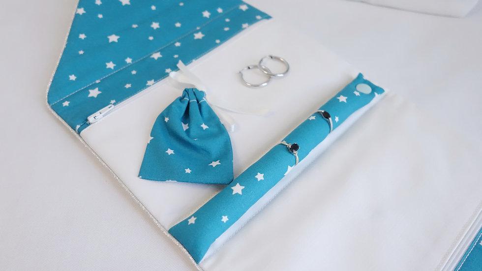 Pochette à bijoux étoiles turquoise