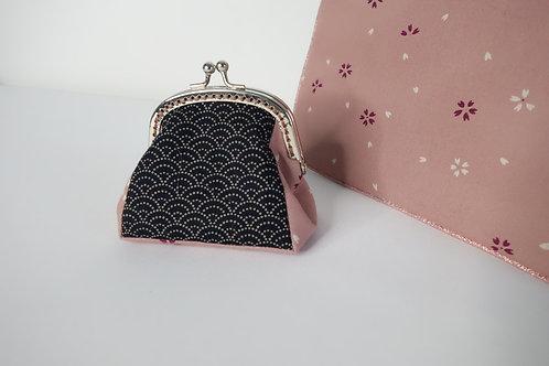Porte Monnaie Vagues marine-rose