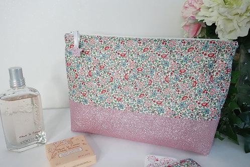 Trousse de toilette rose fleuri