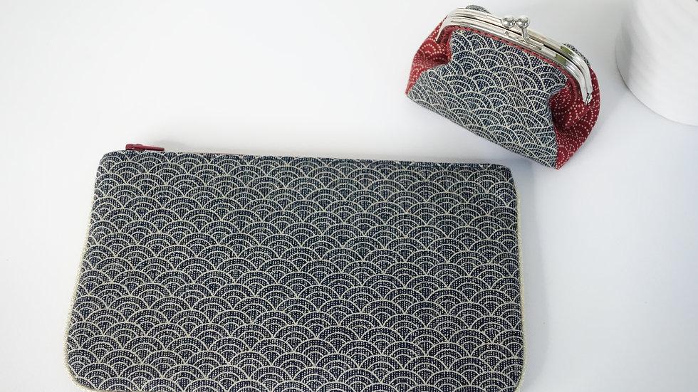 Pochette plate Bi-colore bordeaux-marine