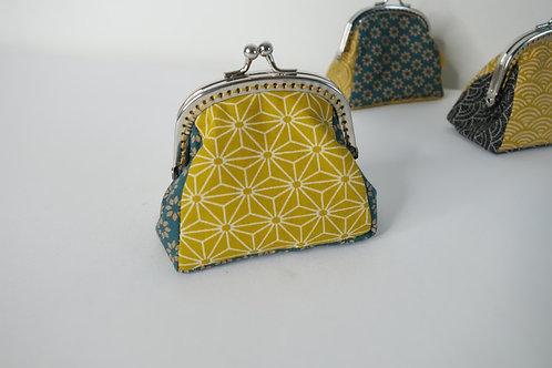 Porte Monnaie Saki moutarde- Fleurs vert Paon