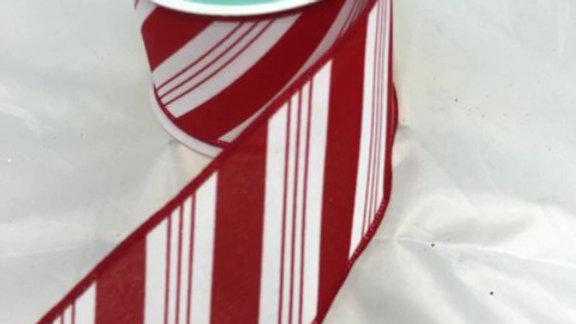"""RGC173127-W 2.5"""" X 10 YDS RED/WHITE STRIPED RIBBON"""