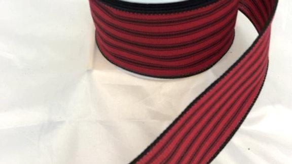 """RGA1016WJ-R 2.5"""" X 10 YDS RED/BLACK STRIPED RIBBON"""