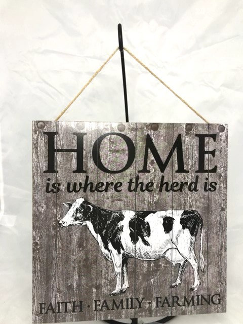 """AP8432-R 10""""SQ """"HOME IS WHERE THE HERD IS"""" WOODEN SIGN"""