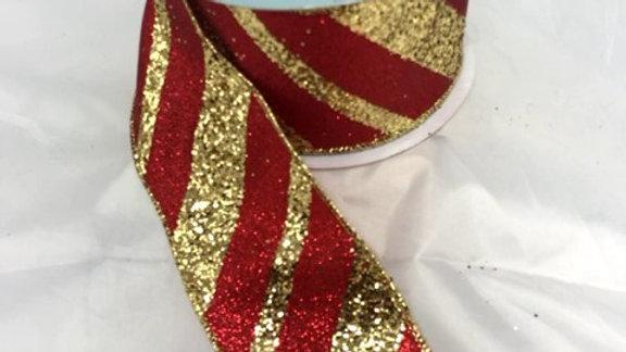 """RGA129536-R 2.5"""" X 10 YDS RED/GOLD STRIPED RIBBON"""
