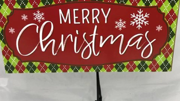 """AP8501-R 12.5""""L X 6""""H MERRY CHRISTMAS WOODEN SIGN"""