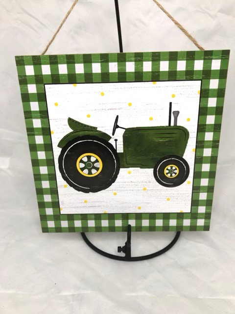 """AP875909-R 10""""SQ GREEN TRACTOR/GINGHAM WOODEN SIGN"""