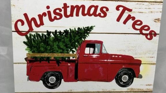 "AP8343-R 10""SQ FARM FRESH CHRISTMAS TREES WOODEN SIGN"