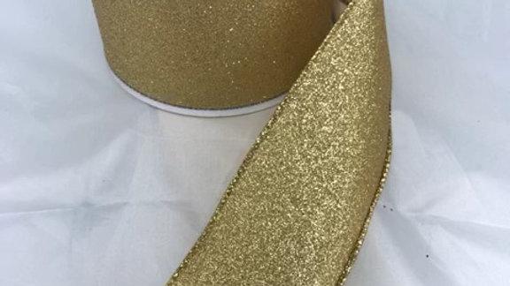 "RGC159708-W 2.5"" X 10 YDS GOLD GLITTERED RIBBON"