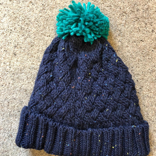 Men's Speckle Chunky Knit Bobble Hat