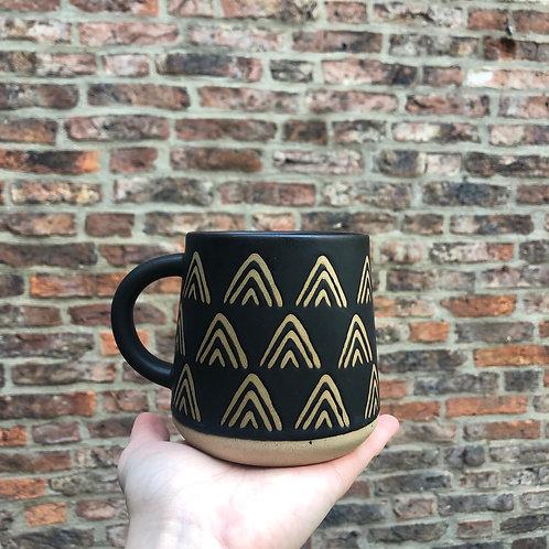 Wax Resist Triangles Black Mug