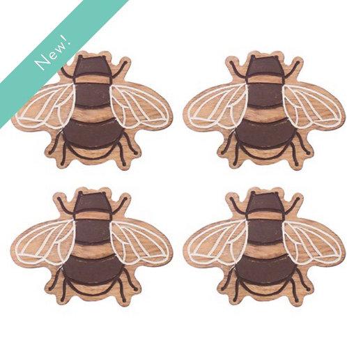 Set of 4 Wooden Bee Coasters