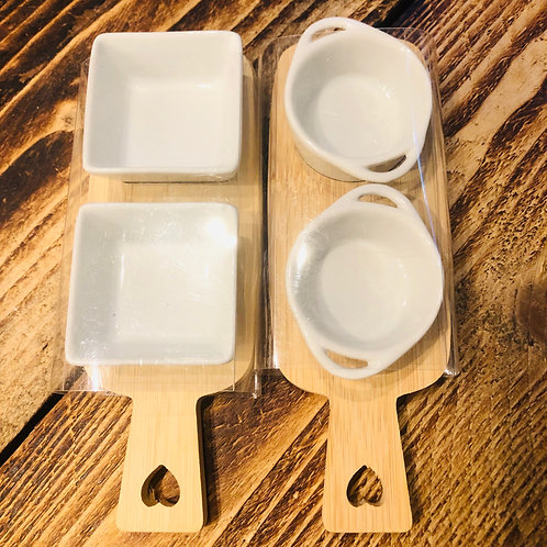 Bamboo and Porcelain Nibbles Paddle