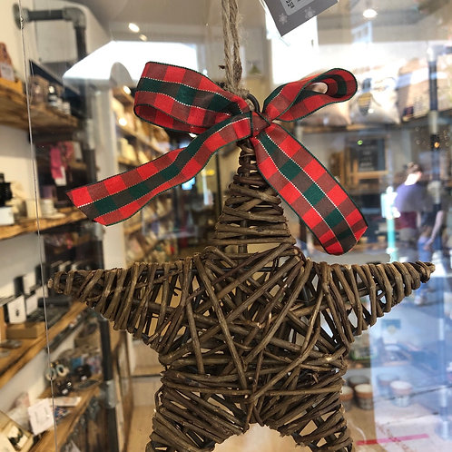 Wicker Star with Ribbon