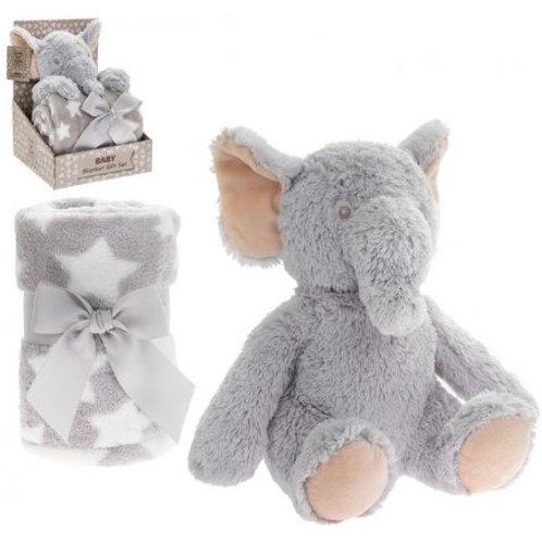Elephant Soft Toy and Blanket Set