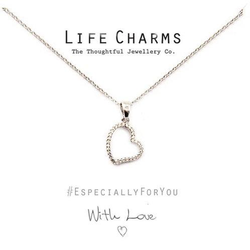 Silver CZ Open Heart Necklace