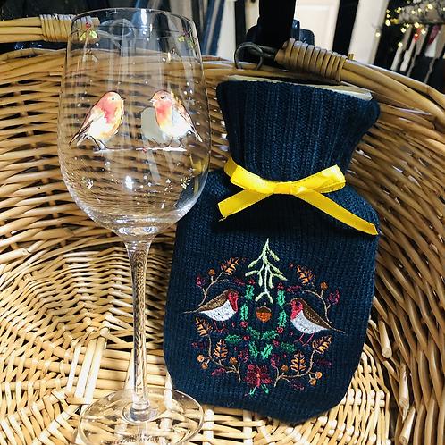 Robin Wine Glass & Hot Water Bottle Gift Bundle