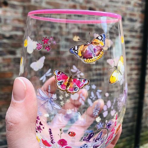 Butterfly Stemless Glass