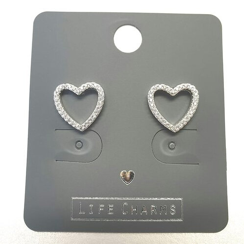 Cubic Zirconia Open Heart Earrings