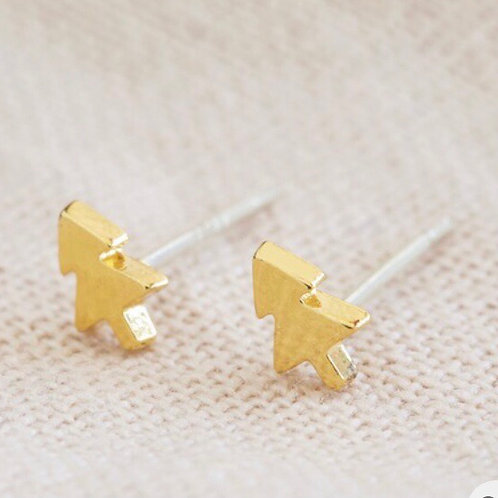 Gold Christmas Tree Stud Earrings